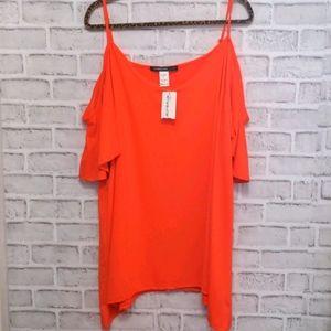 Laura Plus NWT Orange Cold Shoulder Top 2x